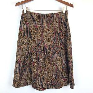 Harold's Paisley Cheetah Print Corduroy Skirt